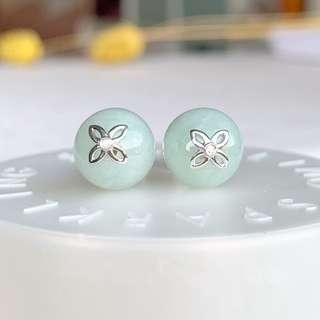 A-Grade Natural Green Jadeite Bespoke Stud Earring No.180111