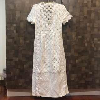 古著日本白色仙氣款縷空刺繡蕾絲布洋裝罩衫