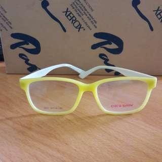 New Kacamata Bening Fashion Import Frame Kuning Gg Motif Bs Ganti Lensa