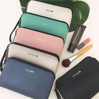 Modern minimalist style personalised makeup pouch makeup bag cosmetic pouch clutch purse personalised gift wedding bridesmaid gift bridal party favours