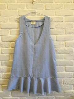 🚚 正韓水藍色條紋背心裙