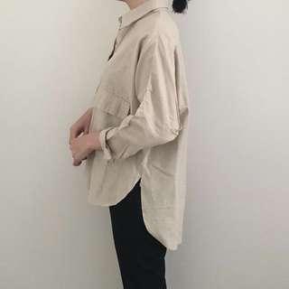 Double Pocket Shirt in Beige