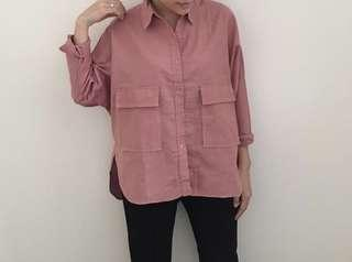 Double Pocket Shirt in Salmon