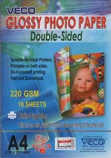 Veco a4 photo glossy paper 220 gsm double sided