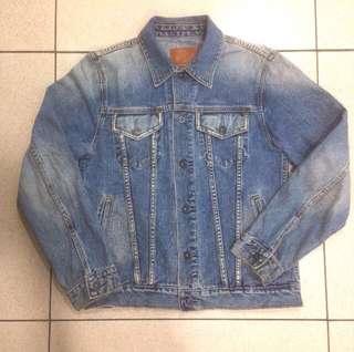 Vintage 90's Gap Blue Washed Denim indigo Jeans Jacket