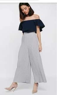 🚚 Pomilly pleated wide leg pants Grey