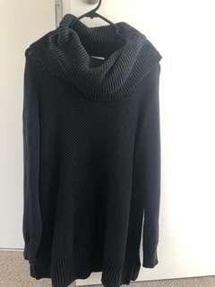 Long black knit turtle neck sweater