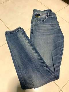 Fendi Embroidered Bag Bug Washed Denim Jeans