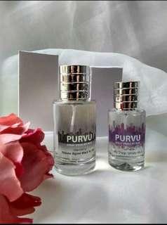 parfum purvu,mengedepankan kualitas bahan baku di datangkan langsung dari prancis aromanya tahan minimal 8jam
