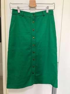Green Button Down Pencil Skirt