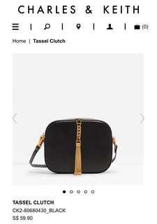🚚 Charles and Keith CK Tassel Clutch / Sling Bag (Black)