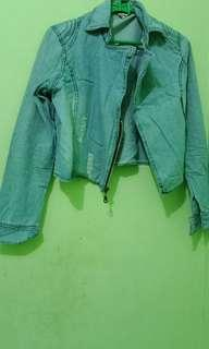 Blezer/ jaketJeans Crop atasan jeans asli