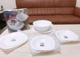 🚚 全新未使用過 Luminarc 樂雅美 強化餐具五入組 大湯碗 方型拼盤