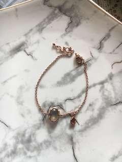 Silver 鍍18k 玫瑰金 台灣品牌 月高石 石榴石 水晶 925款