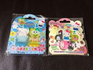 C 675–Hello Kitty Masquerade (扮Keroppi/玉桂狗/XO/Melody/Kurumi)擦膠2套$38