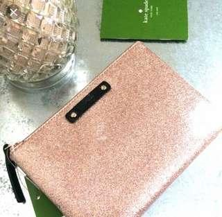 Brand new Authentic Kate Spade mini pouch sparkle gold