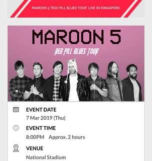 SINGLE ticket CAT 4 Maroon 5 concert