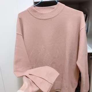 🚚 Pimgo 鮭魚粉色 袖開叉針織毛衣🧶
