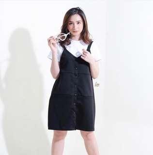 Htp half the price black pinafore dress