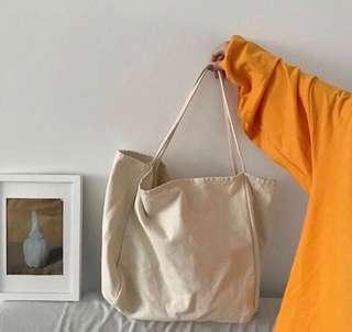 🚚 韓國代購~女大容量帆布包(卡其)