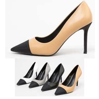 。CiNdEReLlA。100%韓國空運 香奈兒皮質雙配色異材質氣質小香風上班族高跟鞋尖頭包鞋8S017
