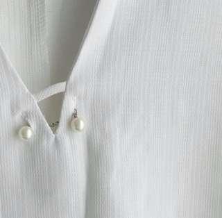Pearl detail white dress