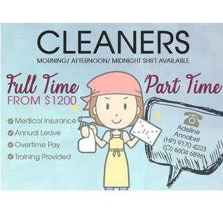 Full Time Cleaners @ Central Area