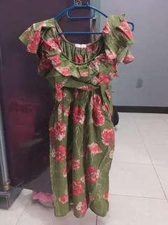 Dress bunga hijau