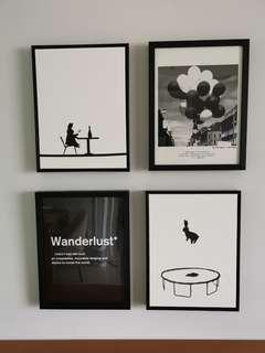 Art Frame in black and white, jumping rabbit
