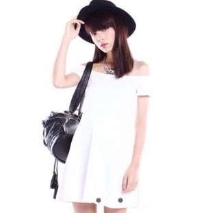 White off shoulder skater dress
