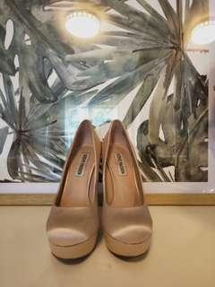 Beige silky heels