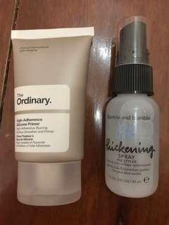 The ordinary silicone primer / bumble and bumble hair spray
