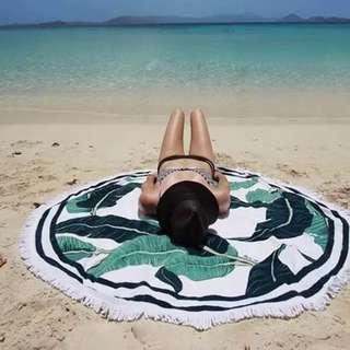 印花流蘇超大毛巾料沙灘巾