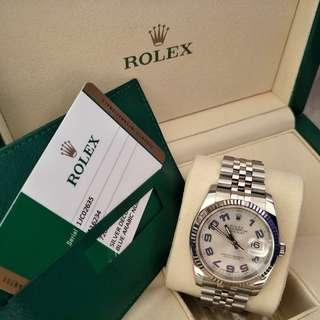 Rolex Datejust 36, Silver Decorated Blue Arabic Face, Steel & White Gold, 116234