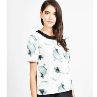 Love & Bravery Boxy Top with Brushstroke Prints