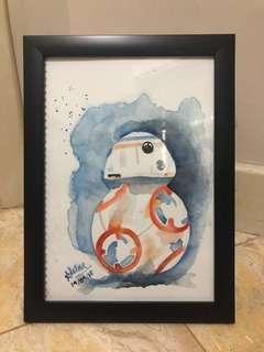 Lukisan cat air bb8 star wars