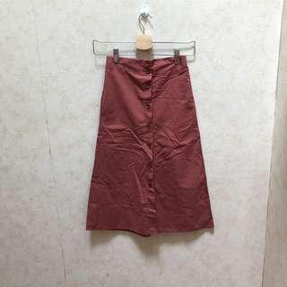 🚚 Rust red midi button down skirt