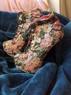 Tapestry Booties Heels