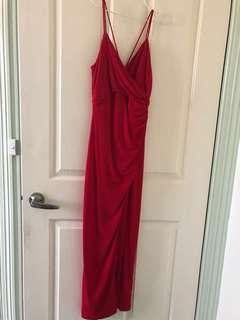 Red formal maxi dress with slit