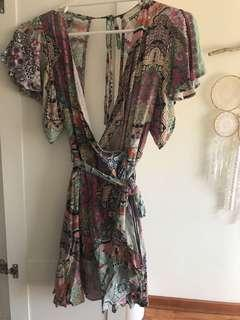 Paper heart wrap dress