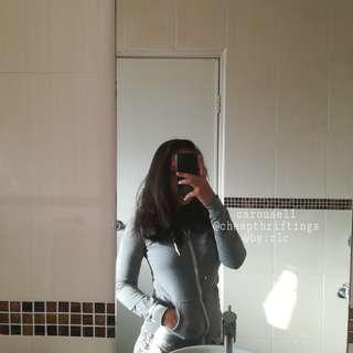 TERRANOVA basic grey zipper hoodie