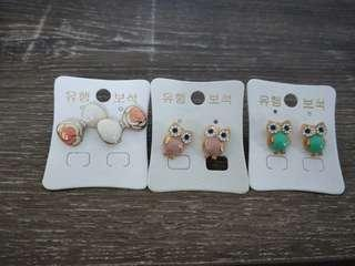 3 x earrings from korean