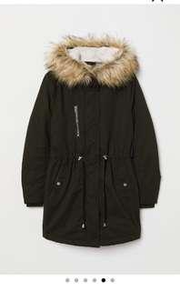 NEW padded black parka with hood