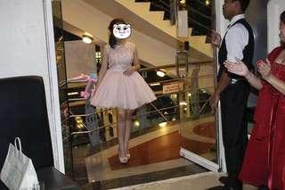 Pastel pink open back dress