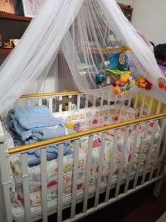 Baby cot, mattress, bed sheet set,  musical mobile
