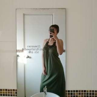 bali halter neck maxi olive green dress