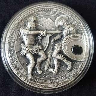 2017 Niue 2 oz Antique Silver Demigods Achilles Ultra High Relief