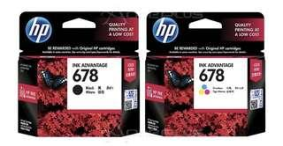 HP 678 printer ink black and color