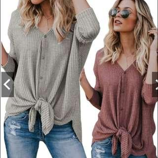 Loose Knit Tunic Tie Knot Batwing