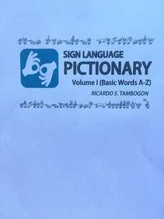 Sign Language Pictionary Book